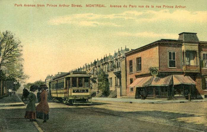 Avenue du Parc vue de la rue Prince Arthur, Montréal, vers 1910. / Park Avenue from the corner of Prince Arthur Street, Montreal, c.1910.