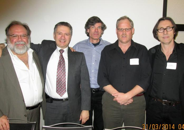 This year, ELAN and QAHN teamed up to organize the 2014 Arts Culture and Heritage Working Group Summit in Montreal on March 31, 2014. Left to right: Charles Childs (master of ceremonies); Simon Jacobs (president, QAHN); Rod MacLeod (past-president, QAHN); Peter MacGibbon (president, ELAN); and Guy Rodgers (executive director, ELAN). (Photo - Matthew Farfan)