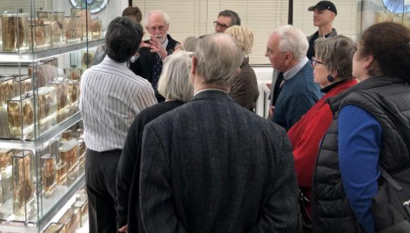 Dr. Richard Fraser gave visitors a tour of the fascinating medical museum at McGill. Photo - Christina Adamko.