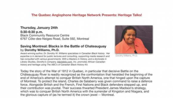 """""""Saving Montreal: Blacks in the Battle of Chateauguay,"""" with Dr. Dorothy Williams: an excellent start to QAHN's 2019 Heritage Talks lecture series!"""